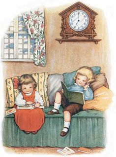 Boy & Girl Reading Art Print | Book Lovers Anytime Art Prints
