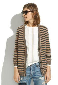 Striped coffee shop cardigan.
