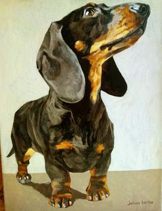 Dachshund painting, acrylic on canvas. Johan Botha Art.