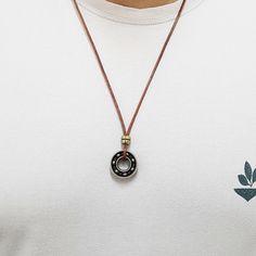 Colar Cordao Couro Masculino Pingente Rolima Rolamento mens necklace style fashion cocar brasil