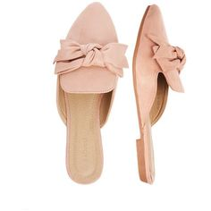 Pink Bow Front Backless Loafer (€17) ❤ liked on Polyvore featuring shoes, loafers, loafers moccasins, backless shoes, pink loafers, backless loafers and pink shoes
