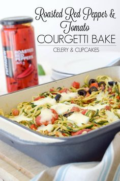 Roasted Red Pepper & Tomato Courgetti Bake - An easy fuss-free meal, based on the family classic, pasta bake, with a low carb twist!