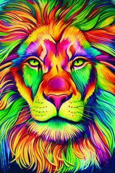Rainbow Animals Paint By Number Kit/ DIY Digital Oil Painting on Canvas/Deer Tiger Elephant Lion Cat Wolf/Acrylic Painting/ Rainbow painting Giraffe Painting, Lion Painting, Oil Painting On Canvas, Painting & Drawing, Animal Paintings, Animal Drawings, Illustration Art Dessin, Bild Tattoos, Lion Art