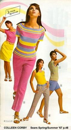 mod colleen_corby in quot; top 1967 late mod pink yellow blue stripes pants skirt short top blouse knit color photo model magazine go go pencil straight 60s And 70s Fashion, Teen Fashion, Retro Fashion, Fashion Models, Vintage Fashion, Womens Fashion, Sporty Fashion, Ski Fashion, Gothic Fashion