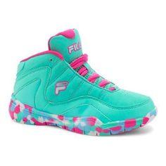 Girls' Fila Sweeper Basketball Shoe Cockatoo/ Fish/Pink Glo (US Girls' (Regular)), Girl's
