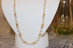 White Glass Beaded Necklace by AngeleDesignsLA on Etsy