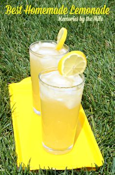 Best Homemade Lemonade - Memories By The Mile.  Has a some orange in it.