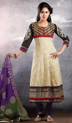 Black and Cream Jacquard Net Long Churidar Suit Be on the center stage owning this black and cream jacquard net long churidar suit. This enticing attire is showing some brilliant embroidery done with aari, lace and resham work.  #NetLongChuridarSuit #BollywoodStylishAnarkaliSuits
