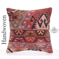 "Oriental Decorative Kilim Pillow 16x16"" Antique Anatolian Sofa Cushion"