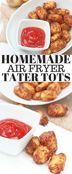 Homemade Air Fryer Tater Tots – toss the bags of tater tots and make your own! With less oil and more flavour these will quickly become a family favourite! via Six Time Mommy Air Fryer Recipes Tater Tots, Tater Tot Recipes, Air Fry Recipes, Side Recipes, Meal Recipes, Appetizers For A Crowd, Healthy Appetizers, Appetizer Recipes, Cauliflower Tater Tots