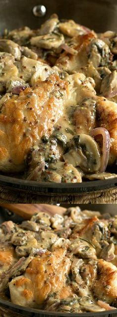 This Chicken Breats with Mushroom and Onion Dijon Sauce recipe from A Family Feast makes an insanely delicious dinner that you are going to love. The chicken breasts cook until they are tender, and then you smother them in a rich, creamy sauce that has a combination of herbs, spices, onions, mushrooms, and of course — dijon mustard!
