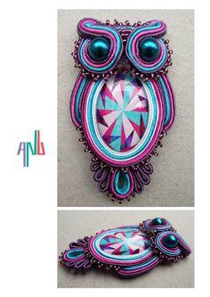 Handmade ANU Jewelry Soutache Pendant Owl Pink Violet Blue