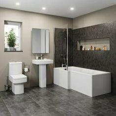 The UK Modern Toilet, Basin & L Shaped Bath Shop. Huge Range of Modern Toilet, Basin & L Shaped Bath in stock. Bathroom Interior, Modern Bathroom, Small Bathroom, Bathroom Plans, Shower Bathroom, Bathroom Images, Family Bathroom, Downstairs Bathroom, Master Bathroom