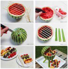 Fruit skewers on a watermelon barbecue. This looks way too time-consuming for me, but really cute all the same!