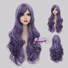 80CM-Black-Mixed-Purple-Long-Curly-Women-Lolita-Anime-Cosplay-Wig-Wig-Cap