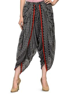Black Georgette Printed Cowl Flare Dhoti Look Salwar Indian Groom Wear, Indian Ethnic Wear, Ethenic Wear, Indian Fashion Trends, Lehenga Designs, Western Dresses, Fashion Sewing, Indian Designer Wear, Unique Dresses