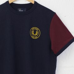 Fred Perry Ringer Colour Block T-Shirt (Navy) #fredperry #raglan #vintage #fred #perry #menswear #tshirt