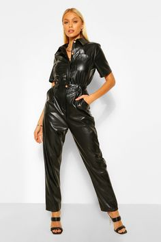 Faux Leather Pu Boiler Jumpsuit | boohoo Leather Catsuit, Leather Jumpsuit, Black Jumpsuit, Leather Pants, Cute Casual Outfits, Girl Outfits, Fashion Outfits, Rompers Women, Jumpsuits For Women