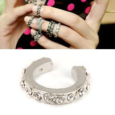 Portable Silver Color Full Of Diamond Opening Design Alloy Korean Rings,Priced At Only US$0.29