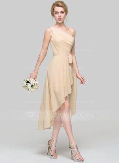 [US$ 104.19] Linia A/Księżniczka Jedno ramię Asymetryczny Szyfon Suknia dla Druhny Z Żabot Pałąka (e) Ruffles kaskadowe