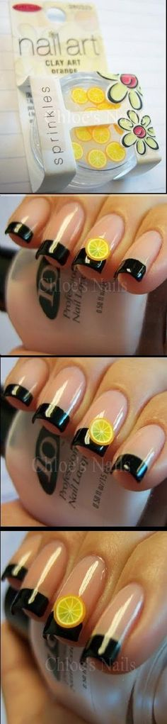 Summer Chic mani. Probably not black tips but the little lemon says summer!!