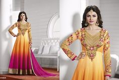 Awesome Yellow Magenta Anarkali Georgette Salwar Kameez364