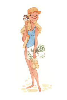 Beachgirl  #karolinepietrowski #tumblr #art #illustration #watercolor