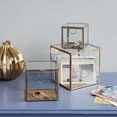 set of three copper framed glass boxes // Rigby & Mac Ed
