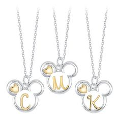 Personalize your Mickey Mouse style with this fun, elegant sterling silver necklace that puts your monogram initial inside a Mickey icon in yellow gold along with a heart. Good Luck Necklace, Evil Eye Necklace, Silver Charms, Sterling Silver Necklaces, Silver Rings, Silver Jewellery, Silver Bracelets, Glass Jewelry, Body Jewelry