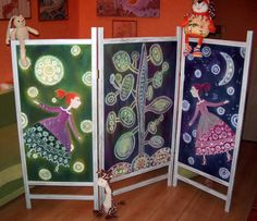 screen room folding room divider cotton screen  Happy by SilkMood