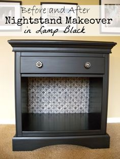 before and after nightstand makeover in Lamp Black - Diy Furniture Bedroom Room Interior Design, Living Room Interior, Gold Interior, Repurposed Furniture, Painted Furniture, Refinished Furniture, Painted Dressers, Furniture Refinishing, Furniture Makeover