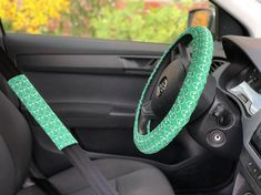 Alien set of car accessories Steering wheel cover Seat belt covers Birthday gift for her for him Car decor Car decoration Car accessory gift