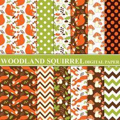BUY 1 GET 1 FREE  Woodland Squirrel Digital Paper  by TanitaArt