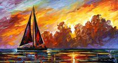 """Óleo de nubes - nubes carmesís — Arte de aceite en la lona por Leonid Afremov. Paisaje marino arte de la pared, decoración de la pared del océano, tamaño 36 """"X 20"""" pulgadas"""