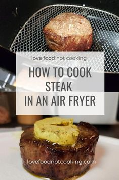 Juicy, delicious steak cooked in an air fryer. This air fryer steak recipe is my go-to for an easy Friday night dinner. Top with herb butter and serve with a side salad - simply delicious! Air Fryer Recipes Snacks, Air Fryer Recipes Breakfast, Air Frier Recipes, Air Fryer Dinner Recipes, Air Fryer Rotisserie Recipes, Air Fryer Recipes Steak, Air Fryer Recipes Vegetables, Snacks Dishes, Recipes Dinner