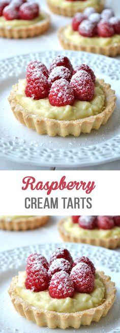 Delicious Raspberry & Vanilla Cream Tarts made with a shortbread crust, vanilla cream filling and fresh raspberries on top! Mini Desserts, Sweet Desserts, No Bake Desserts, Easy Desserts, Delicious Desserts, Dessert Recipes, Spring Desserts, Tart Recipes, Sweet Recipes