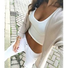 white skinny jeans + white crop top + neutral cardigan