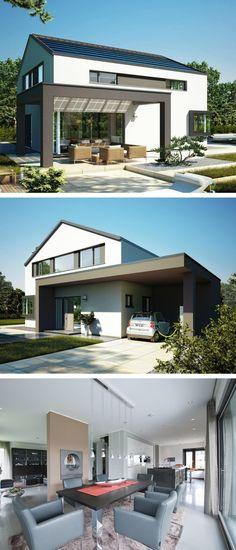 Einfamilienhaus mit moderner Giebel Architektur, Satteldach, Carport & Pergola - Design Haus Concept M 172 Bien Zenker Hausbau Ideen - HausbauDirekt.de