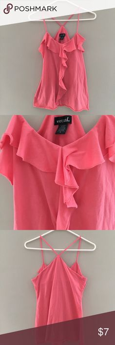 Wet Seal tank top Wet Seal tank top, coral color, size M.  The sides are slightly longer - the last pic is modeled. Wet Seal Tops Tank Tops