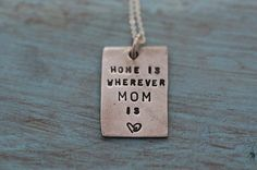 """""""Home Is…."""" Necklace. Home is Wherever Mom is. #mothersday #jewelry"""