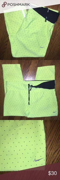Nike workout capris...Size L Excellent condition Nike DRI-FIT workout capris...bright highlighter yellow...Size L...no rips, stains or snags... from a smoke free home! Nike Pants Capris
