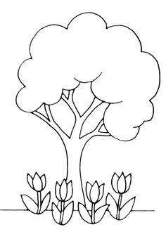Coloriages Fleurs, fruits et légumes Arbre 01