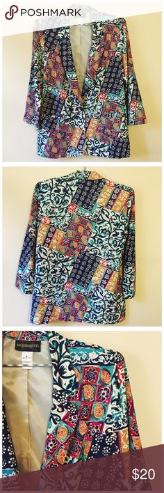 "Vintage Colorful Print Blazer Jacket --- 8 Vintage Colorful Print Blazer Jacket --- 8 --- one of my favorite pieces, this blazer is 100% rayon and made in the USA --- made by Requirements --- it features 2 front pockets and 1 front button closure --- shoulder pads are attached, but can be easily snipped out --- bracelet length sleeves --- 21"" bust --- 30""length --- this jacket does have 2 small yellow spots next to the right pocket --- with the bold pattern spots are not noticeable --- not…"