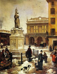 Angelo Inganni (Italian, 1807 - 1880) 'Square of the Scala'