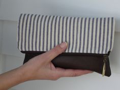 Leather Fold-Over Clutch Canvas Ticking. $45.00, via Etsy.