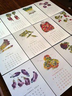 2013 Calendar from Original Illustrations: Vegetables in Season. ££12.00 GBP, via Etsy.