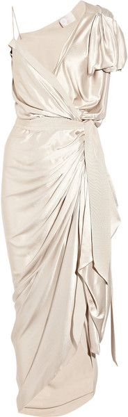 LANVIN moon river gold Asymmetric Silk-satin Wrap Gown  re pinned many times by Dressmesweetiedarling,  but I feel it needs another pin for the new followers of The Boo'tique  as it really is a BEAUTIFUL dress