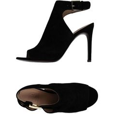 Tory Burch Sandals ($255) ❤ liked on Polyvore featuring shoes, sandals, heels, zapatos, black, buckle sandals, black heeled shoes, black stilettos, black leather sandals and stiletto sandals