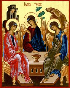 Greek Orthodox Icons :: Hand painted icons of the Saints :: Holy Trinity by Andrei Rublev - Religious Images, Religious Icons, Religious Art, Andrei Rublev, Christian Posters, Christian Art, Paint Icon, Religion Catolica, Saint Esprit