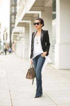 Great Heights :: Slim bootcut  Tailored blazer - Wendys Lookbook  Great pulled together look.